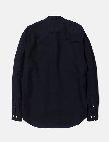 Norse Projects Hans Collarless Oxford Shirt - Dark Navy Blue