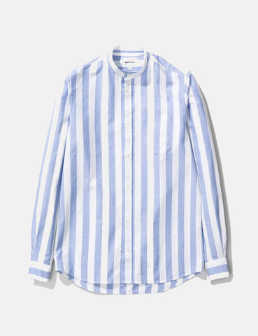 Norse Projects Hans Collarless Wide Stripe Oxford Shirt - Pale Blue