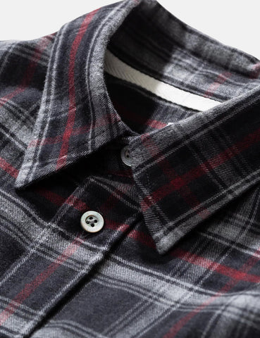 Norse Projects Villads Brushed Flannel Check Shirt - Mulberry Red