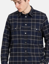 Norse Projects Villads Brushed Flannel Check Shirt - Dark Navy Blue Check