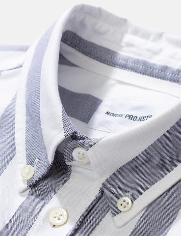 Norse Projects Theo Oxford Short Sleeve Shirt (Wide Stripe) - Navy Blue