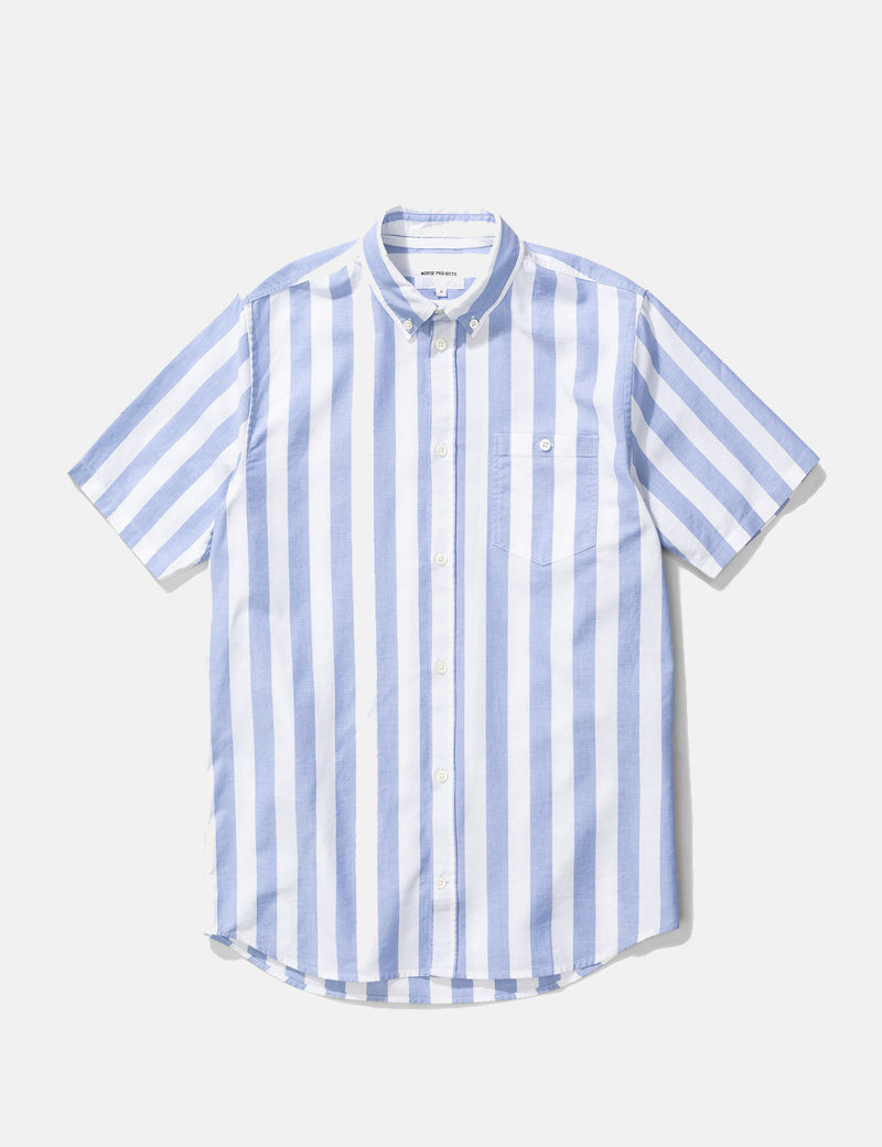 Norse Projects Theo Oxford Short Sleeve Shirt (Wide Stripe) - Pale Blue