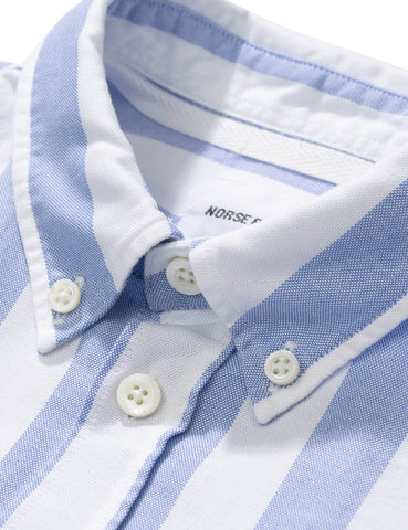 Norse Projects Theo SS Oxford Shirt (Wide Stripe) - Pale Blue