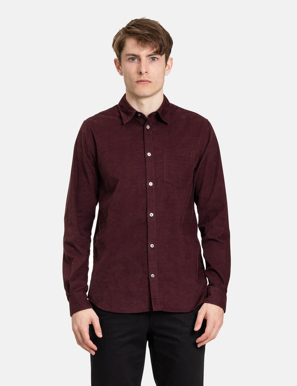 Norse Projects Osvald Corduroy Shirt - Mulberry Red