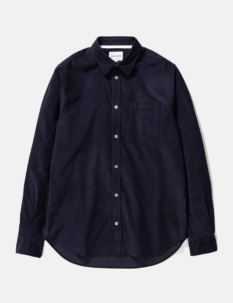 Norse Projects Osvald Corduroy Shirt - Dark Navy Blue