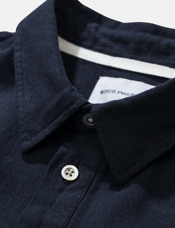 Norse Projects Oscar Half Placket Shirt - Dark Navy Blue