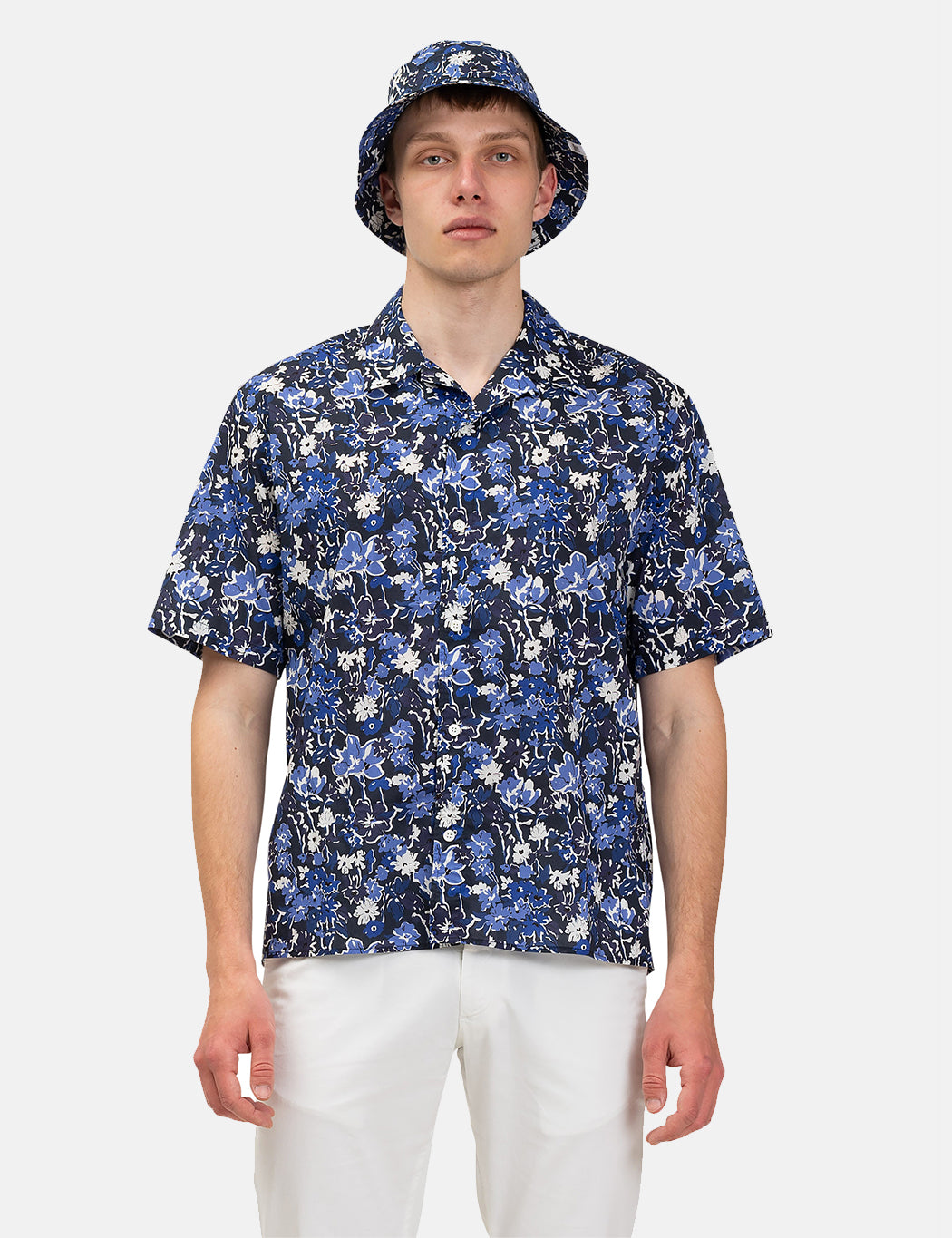 Norse Projects Carsten Liberty Print Shirt S/S - Blue | URBAN EXCESS