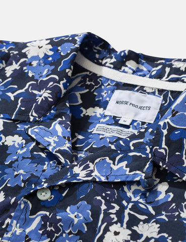 Norse Projects Carsten Liberty Print Shirt (Short Sleeve) - Dark Navy Blue
