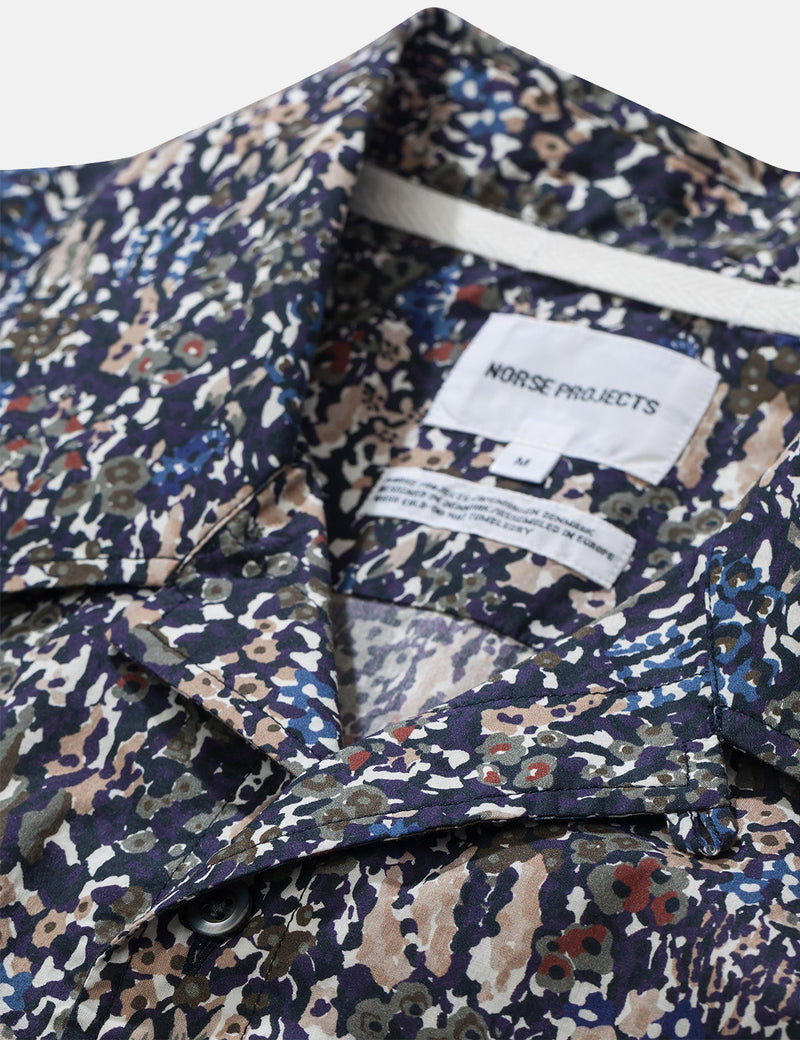 Norse Projects Carsten Liberty Print Shirt (Short Sleeve) - Ivy Green