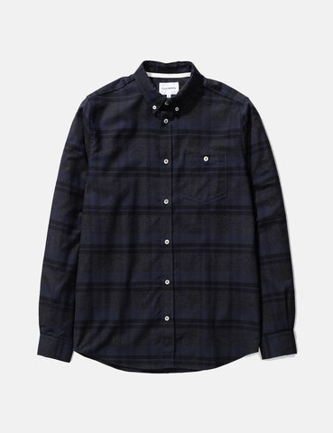 Norse Projects Anton Brushed Flannel Shirt (Check) - Dark Navy