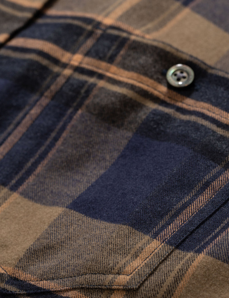 Norse Projects Anton Brushed Flannel Shirt (Check) - Ivy Green