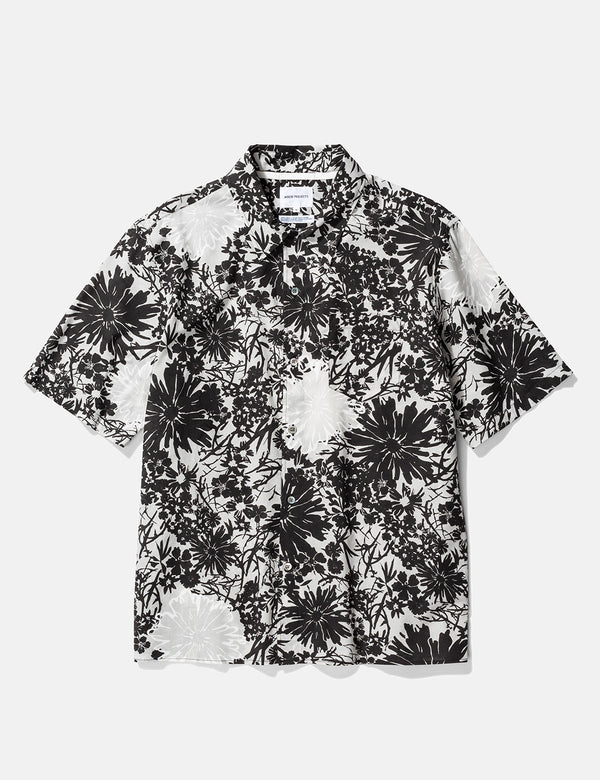 Norse Projects Carsten Flower Print Shirt - Glazier Grey