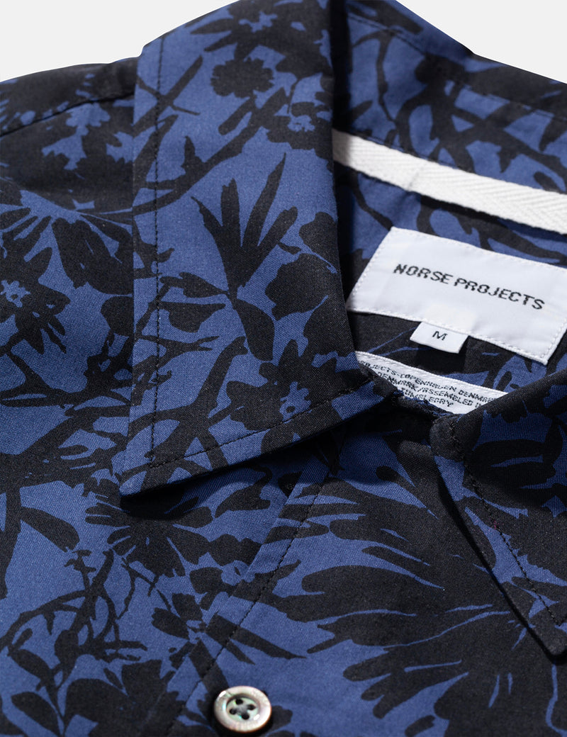 Norse Projects Carsten Flower Print Shirt - Twilight Blue