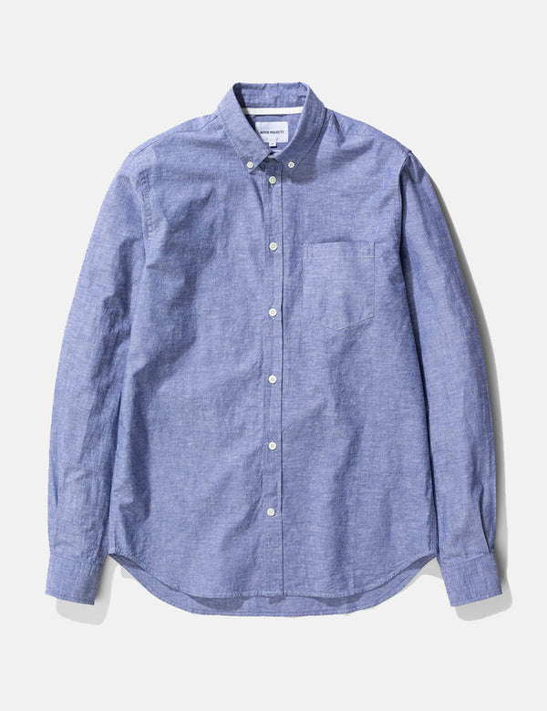 Chemise en Coton Lin Osvald Norse Projects (Boutonnée) - Twilight Blue