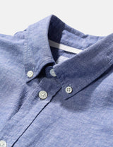 Norse Projects Osvald Cotton Linen Shirt (Button Down) - Twilight Blue