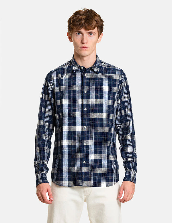Chemise à carreaux 50/50 Norse Projects Hans - Himmel Blue