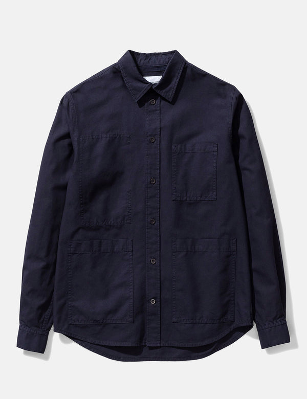Norse Projects Thorsten Canvas Shirt - Dark Navy Blue