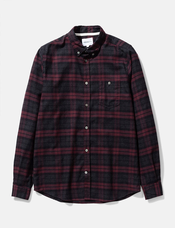 Norse Projects Anton Brushed Flannel Check Shirt - Eggplant Brown