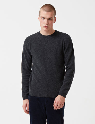 Norse Projects Sigfred Knit Sweatshirt (Lambswool) - Charcoal Grey Melange