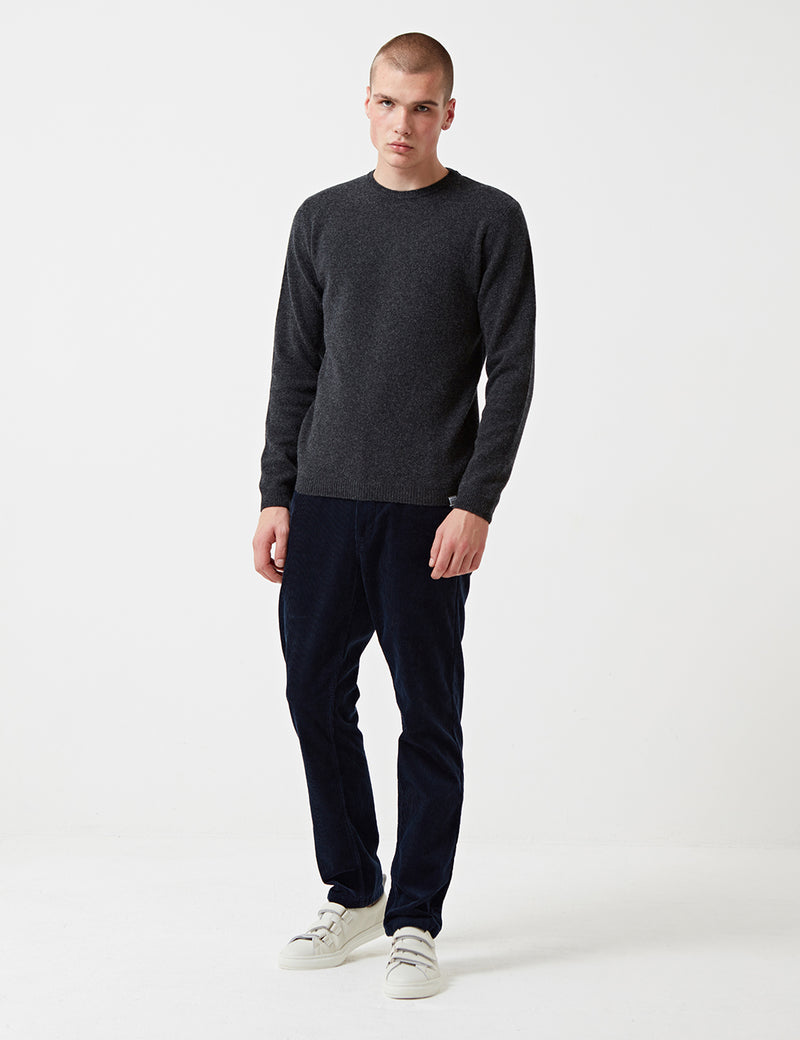 Norse Projects Sigfred Knit Sweatshirt (Wool) - Charcoal Grey Melange