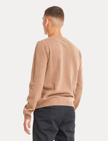 Norse Projects Sigfred Knit Sweatshirt (Lambswool) - Camel Brown