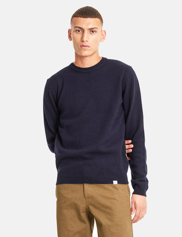 Norse Projects Sigfred Knit Sweatshirt (Lambswool) - Dark Navy
