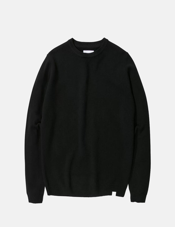 Norse Projects Sigfred Knit Sweatshirt (Wool) - Black