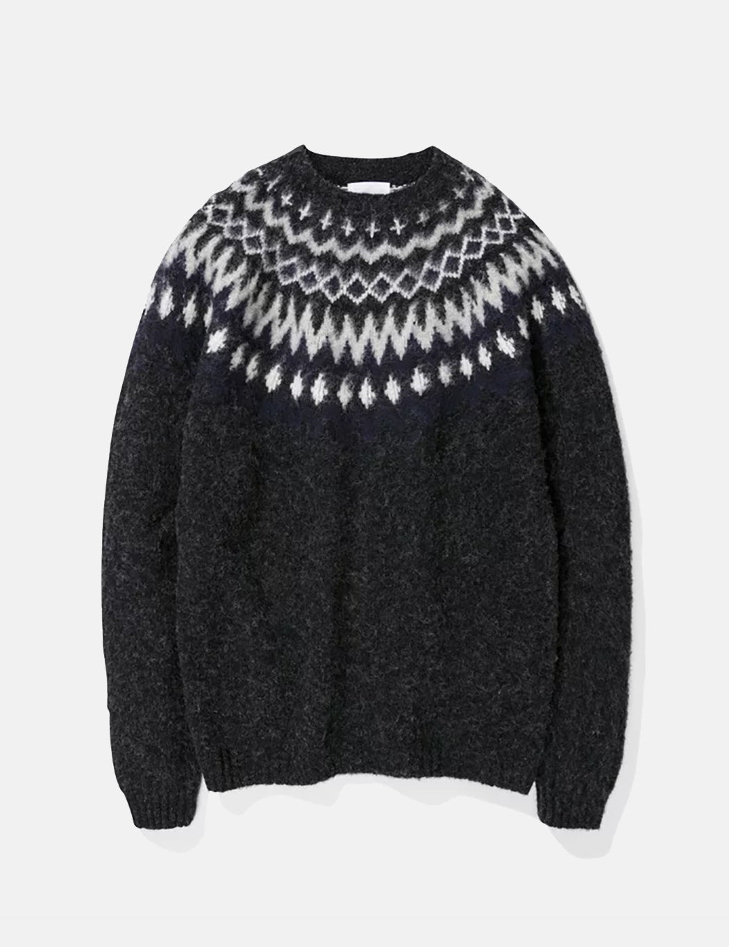 Norse Projects Birnir Fairisle Knitted Sweater - Charcoal Melange