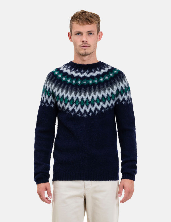 Norse Projects Birnir Fairisle Strickpullover - dunkle Marine-Blau