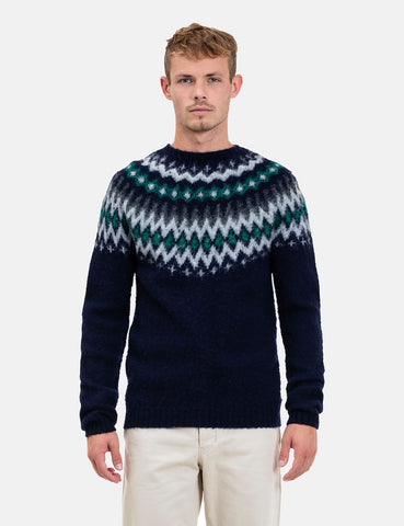 Norse Projects Birnir Fairisle Knitted Sweater - Dark Navy Blue