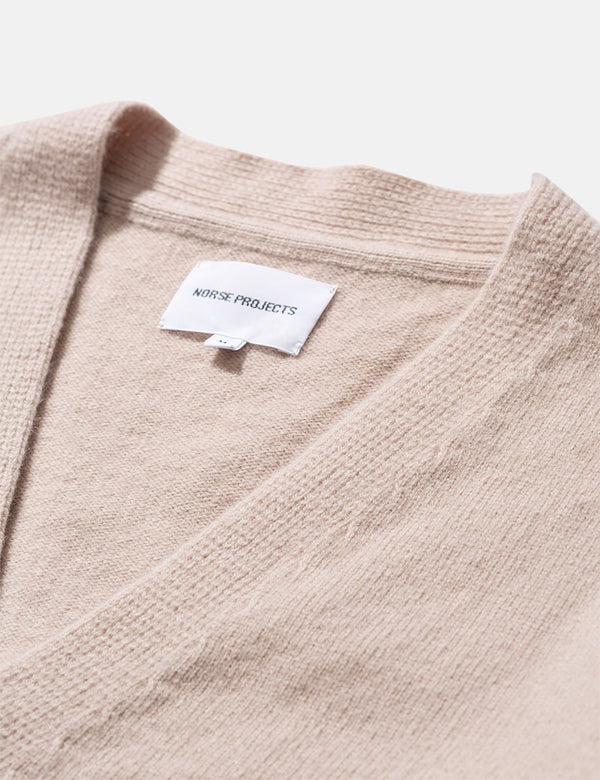 Norse Projects Adam Lambswool Cardigan - Utility Khaki