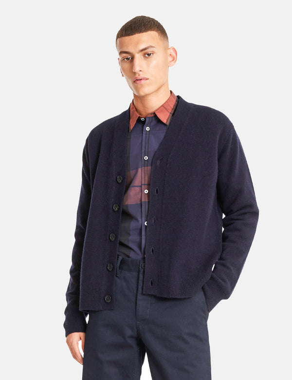 Norse Projects Adam Cardigan (Wool) - Dark Navy Blue
