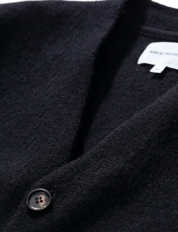 Norse Projects Adam Cardigan (Wolle) - Schwarz