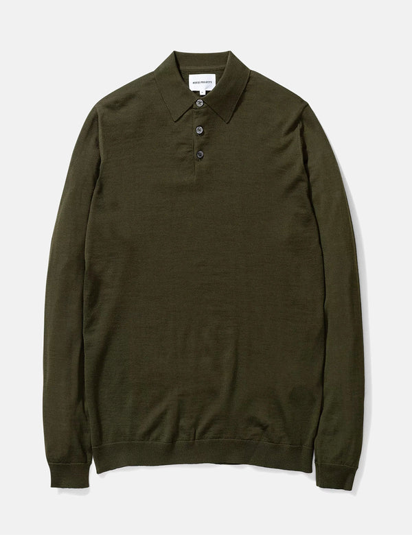 Norse Projects Johan Merino Polo - Beech Green