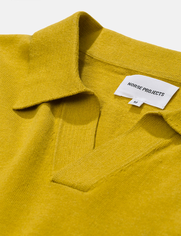 Norse Projects Leif Cotton Linen Polo Shirt - Chartreus Green