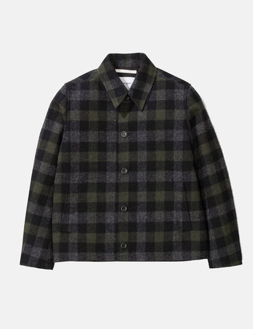 Norse Projects Elliot Wool Check Jacket - Magnet Grey