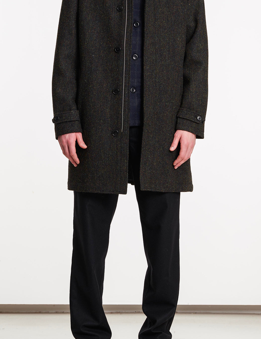 Norse Projects Svalbard Harris Tweed Coat - Black Multi
