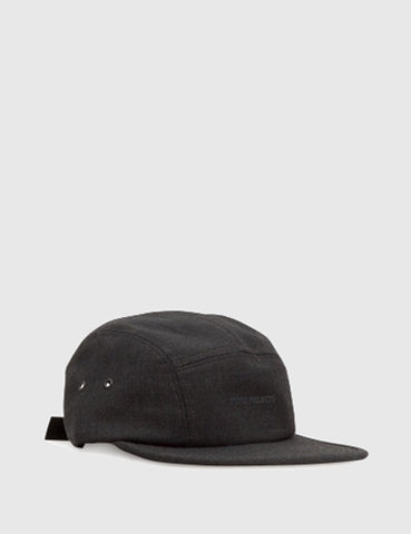 Norse Projects Foldable Wool 5 Panel Cap - Charcoal