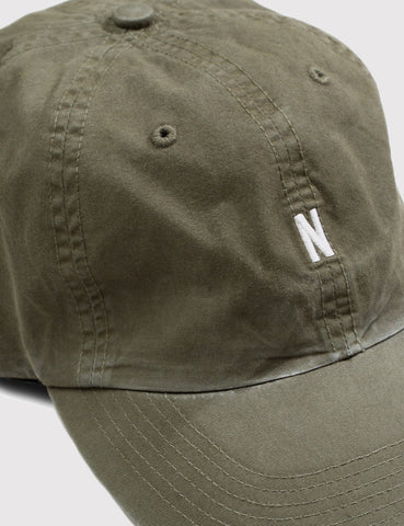 Norse Projects Twill Curved Peak Cap - Dried Olive