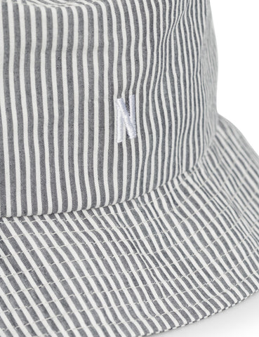 Norse Projects Seerucker Stripe Bucket Hat - Navy Blue