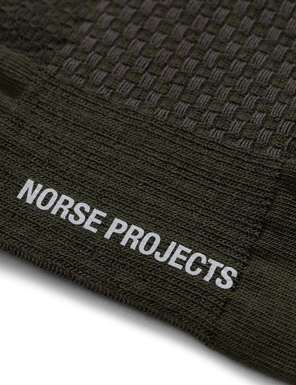 Norse Projects Bjarki Texture Socks (Honeycomb) - Ivy Green