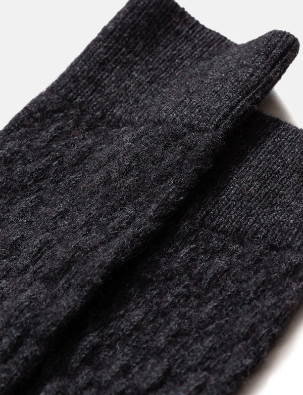 Norse Projects Bjarki Fairisle Texture Socks - Charcoal Melange