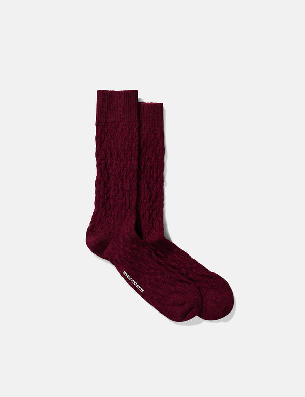 Norse Projects Chaussettes Bjarki Fairisle Texture - Mulberry Red