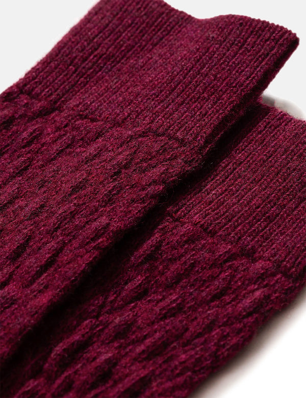 Norse Projects Bjarki Fairisle Texture Socks - Mulberry Red