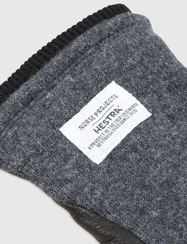 Norse Projects x Hestra Svante Sport Gloves (Leather) - Charcoal