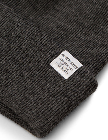 Norse Projects Top Beanie Hat (Lambswool) - Charcoal Grey Melange