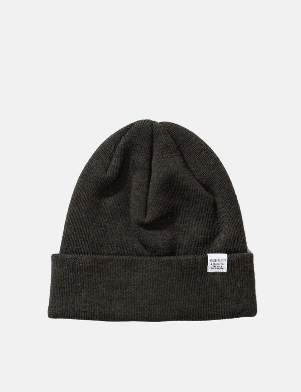 Norse Projects Top Beanie Hat (Wool) - Beech Green