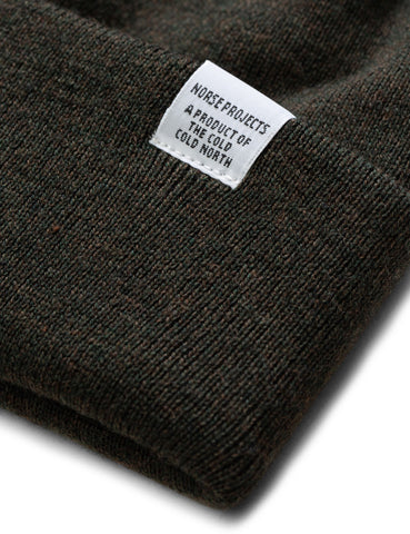 Norse Projects Top Beanie Hat (Lambswool) - Beech Green