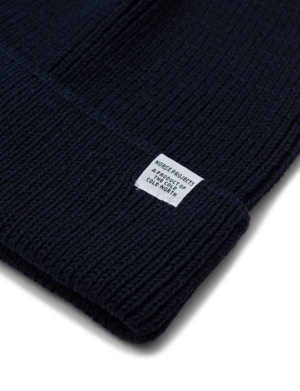 Norse Projects Beanie Hat (Cotton) - Navy Blue