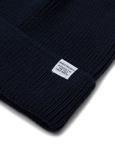 Norse Projects Cotton Watch Beanie Hat - Navy